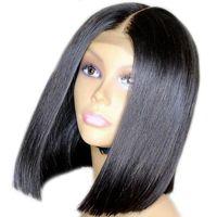 малайзийские волосы боб оптовых-360 парик шнурка Bob человеческих волос парик шнурка Малайзийских девственницы волос Pre-сорвал Волосяный Покров плотность 150% С волосами младенца Glueless