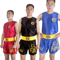 Wholesale combat suit resale online - Boxing Trunks Muay Thai Suits Man and Kids Kungfu Wushu Combat Pants Sanda Shorts