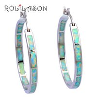 Wholesale big plates stamping resale online - Popular Style Big Round Earrings Retail White Fire Opal Silver Stamped Hoop Earrings Opal Fashion Jewelry OES536