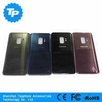 ingrosso coperchio della batteria di ricambio dell'alloggiamento posteriore-Per Galaxy S9 coperchio posteriore batteria per Samsung Galaxy S9 Plus posteriore coperchio porta in vetro parti di ricambio con adesivo copri batteria