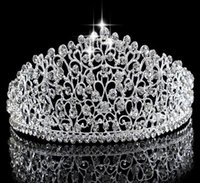 Wholesale gorgeous wedding hair online - Gorgeous Sparkling Silver Big Wedding Diamante Pageant Tiaras Hairband Crystal Bridal Crowns For Brides Prom Pageant Hair Jewelry Headpie
