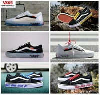 Wholesale Hard Walls - 2018 off the wall Vans Old Skool Running Shoes Classic White Yellow Customs Designer Fashion Casual Canvas Sneakers 35-44