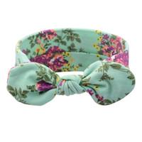 aku saç toptan satış-Yüksek Kalite Vintage Aqua Çiçek Kafa Çocuklar Yay Düğüm Hairband Elastik Türban Headwrap Tavşan Kulaklar Saç Bandı Aksesuarları