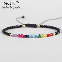 bracelets d'argile de diamant achat en gros de-OAIITE 7 Chakras Bracelet 3mm Cristal Naturel Yoga Sept Guérison Équilibre Bracelet Pour Femmes Pierres De Prière Reiki