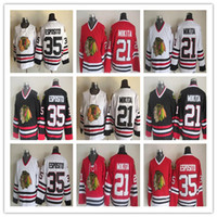 vieux chandails de hockey ccm achat en gros de-Blackhawks de Chicago CCM Old Time Rétro Hockey 35 Tony Esposito 21 Stan Mikita 18 Denis Savard 27 Jeremy Roenick 8 Bill Mosienko Chandails de glace