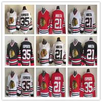 jersey tony esposito al por mayor-Cheap Retro Chicago Blackhawks Hockey sobre hielo 35 Tony Esposito 21 Stan Mikita Rojo Negro Blanco Vintage cosida Jerseys Uniformes Buena