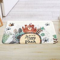 Wholesale anti slip sofa - Happy Bear Printing Kitchen Doorway Living Room Sofa Bathroom Mat Carpet 4 Colors Cute Kids Bath Rugs Mat Anti-Slip Floor Carpet Mat tapete