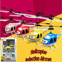 Wholesale best rc helicopters resale online - Cartoon Smart Electric RC Helicopter Induction Aircraft Airplane Flashing Light Mini Kids Led Flying Toy Best Gift USB Charging