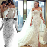 Wholesale sexy fitted wedding gowns - Sexy Pearls Off Shoulder Beach Wedding Dress With Wrap Lace Beads Garden Side Split 2018 Fitted Country Bridal Gown Bride Dress Custom