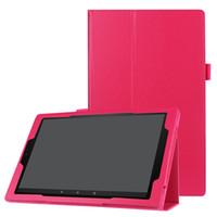 entzünden sie feuerstandhalter großhandel-Litchi Ledertasche mit Halter für Amazon Kindle Fire HD 10 Zoll 2017 Tablet Ständer Tri-Folding Cover + Stylus