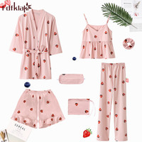 Fdfklak Sweet 7 Pcs pajamas women autumn winter pajama set casual cotton  sleepwear pijama home clothes ladies nightwear pyjamas ed5e1ac76