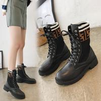 bota elástica de plataforma bota al por mayor-botas martin mujer primavera / otoño punto botines con cordones tacones botas de plataforma de tacón alto señoras calcetines elásticos zapatos negro