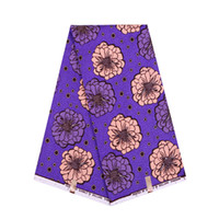 Wholesale veritable fabric dresses resale online - Purple polyester wax fabric yards lovely African prints veritable wax fabric for party dress WD