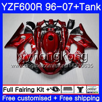 1999 carrinhos de trovão venda por atacado-Corpo + Tanque Para YAMAHA Thundercat YZF600R 96 97 98 99 00 01 229HM.0 YZF-600R YZF 600R 1996 1997 1998 1999 2000 2001 Carenagem Brilhante Fábrica vermelho