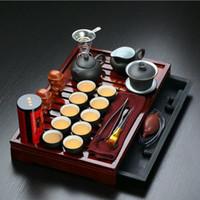 yixing juegos de tetera de arcilla al por mayor-¡Promoción de ventas! Yixing Purple Clay Kung Fu Juego de té Bandeja de té de madera maciza Tetera Tazas de té Drinkware Ceremonia del té chino
