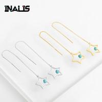 zincir kulak damlaları toptan satış-INALIS Yeni Narin Kulak Hattı S925 Gümüş Uzun Zincir Yıldız Tek Turkuaz Kolye Dangle Bırak Earrinngs Takı ile