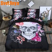 skull bedding al por mayor-Funda de almohada Svetanya + Juego de cama con funda nórdica Doona (sin sábanas) Lino de flores de cráneo Doble Full Queen Doble King Size