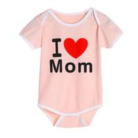 Wholesale i love rompers resale online - Baby Romper Babies Jumpsuit Infant Toddler Kids Boys Girls I Love Mom Dad Letter Print Short Sleeve Cotton Rompers