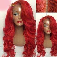 ingrosso lunghe parrucche colorate-Parrucca vergine non trattata del virgin dei capelli umani remy 100% rossa variopinta lunga dell'onda del corpo piena parrucca superiore di seta del merletto per le donne
