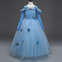 Wholesale Freeze Brand - 2018 New Frozen Dress Light Blue Dresses Winter Long Sleeve Coat Princess Party Full Dress Performance Skirt 3-8T Free Shipping in Stock