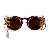 Wholesale monkey frame - New Fashion Sunglasses Metal Monkey pearl chain Decoration Frame Luxury Brand Designer Women Mirror Sun glasses Men