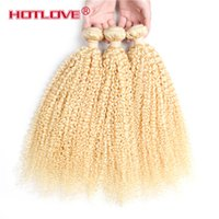 Wholesale 613 blonde hair weave curly online - HOTLOVE Blonde Kinky Curly Malaysian Virgin Human Hair Extension Bundles Hot Top Quality Honey Blonde Curly Weaving Hair Weft A