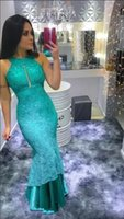 Wholesale turquoise runway carpet resale online - Turquoise Lace Mermaid Evening Dresses Long Cheap High Neck Sexy open neck floor length trumpet formal Prom Dresses For Birthday