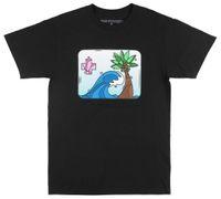 tee shirt homme rose noir achat en gros de-T-SHIRT PORTRAIT ROSE DAUPHIN HOMMES NOIR STREETWEAR FASHION TEE TN-O.