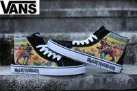 Wholesale boot irons - Vans X Iron Maiden Sk8-hi High Top Casual Vans Black Canvas Shoes Classic Brand Women Mens Vans Designer Skateboard 2018 Sneakers 36-44