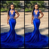 Wholesale Beaded Jersey - Royal Blue Prom Dresses For Black Girl Sexy Lace Appliques Feather Court Train Long Mermaid Special Occasion Evening Dress Formal Wear 2018