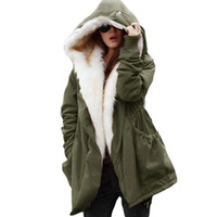 Wholesale female military jackets - Womens Winter Casual Hoodie Coat Military Jacket Parkas Long Trench Overcoat Female Outerwear Freeshipping Size S-2XL