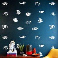 vinil balık dekal çocuklar toptan satış-Yaratıcı Hayvan Karikatür balıklar Duvar Sticker Su Geçirmez Çıkarılabilir Duvar Kağıdı Mobilya Dolabı Vinil Çıkartması Çocuk Odası DIY Dekorasyon Ev Dekor