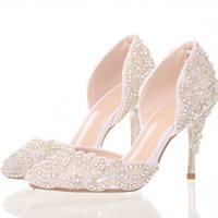 white high heels sandals Canada - Glitter white crystal wedding dress sandals mid high heels dance pointe toe shoes for women