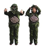 erkek kostümleri toptan satış-Çocuk Kid Boy Cadılar Bayramı Cosplay Korkunç Zombi Hayalet Büyük Bağırsaklar Kostüm Korku Bataklık Parti Sahne Sahne Kıyafetleri Giyim