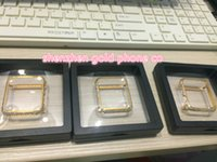 Wholesale diamond bumpers - newest cheapest factory price metal with real gold plated with real diamond crystal case bumper frame case for apple watch bumper 38mm&42mm