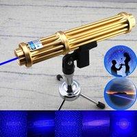 caneta laser militar venda por atacado-Novo Estilo De Alta Potência 10 Milhas Militar Feixe Visível 450nm Mais Poderoso Foco Ajustável Único Ramo Azul Caneta Laser Pointer Com 5 Star Cap