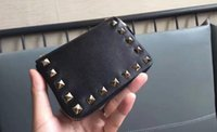 Wholesale Finish Standards - AAAAA Rockstud Coin Purse Zip Closure Wallet Platinum-finish studs 2 gusseted compartments 4 card slots with Box Dust Bag Free Shipping
