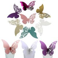 rojo 50pcs mesa marca nombre de vino de cristal mariposa tarjetas de lugar decoraci/ón Boda Fiesta