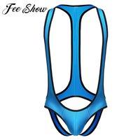 Wholesale Latex Male Underwear - Wholesale-Male Sexy Borat Mankini Thongs Underwear Latex Flexible Suspender Jockstrap Open Butt Briefs Bikini Bodysuit Singlet Underwear