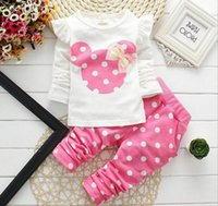 Wholesale retail girl shirt online - New Kids Clothes Set Girl Baby Long Sleeve T Shirt Cotton Cartoon Casual Suits Baby Clothing Retail Children Suits