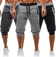 Wholesale cotton workout pants - Men Gym Shorts Casual Mens Pants Tracksuit Sports Bottoms Cotton Fitness Workout Skinny Joggers Running Shorts For Boys Outdoor