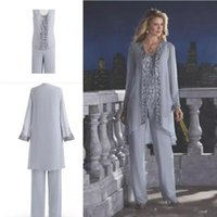 Wholesale cheap purple suits - Gray Cheap 2018 Mother Of The Bride Three-Piece Pant Suit Lace Chiffon Wedding Mother's Groom Dress Long Sleeve Wedding Guest Dress