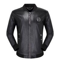fermuar motosiklet ceketi toptan satış-Gelgit Motosiklet Deri Ceketler erkek Fermuar Ceket Palto Kış Adam Rahat Moda Uzun Kollu Mektup Nakış Kaplan Kafası Giyim # 04