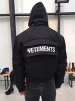 Wholesale Men S Clothing Goose - VETEMENTS 17FW Reversible Coat Supper Limit DOWN PARKAS Mens Clothing Fashion Luxury Black Long Sleeve Coat