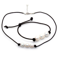 Wholesale necklace water pearls for sale - Fashion latest design freshwater pearl jewelry set natural fresh water white pearl leather rope necklace and pearl bracelet