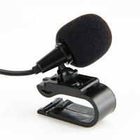 ingrosso radio a forma di auto-Microfono esterno BBGear Mini Jack da 3.5mm Plug Car Audio Microfoni cablati con microfono a forma di U Clip per lettore DVD Radio per auto