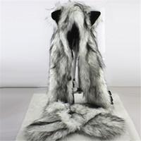 bufandas de imitación de animales al por mayor-Moda para mujer Wolf Ears Paws Faux Fur 3 en 1 Sombrero de la bufanda Mitones Winter Warm Cap