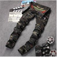 männer slim fit tarnhose großhandel-Neue Herren Camouflage Jeans Motorrad Camo Military Slim Fit Berühmte Designer Biker Jeans Mit Reißverschlüssen Männer Hosen männlichen Robin Hosen