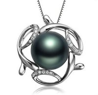 подвеска из натуральных бриллиантов оптовых- Wedding GVBORI Natural Tahiti Black Pearls&18K Gold Diamond Pendant 925 Sterling Silver Chain Necklace Fine Jewelry