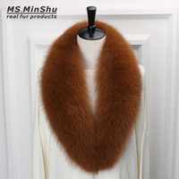 Wholesale grey fox fur coats - Long Fox Fur Collar Scarf Detachable Genuine Fox Fur Scarf Winter Woman Fox Fur Suite Collar 100cm long for Women Coat
